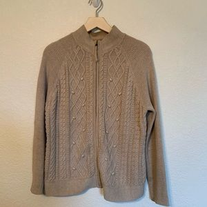 Croft & Barrow zip up cardigan beige knit sweater.